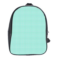 Solid White Hearts on Pale Tiffany Aqua Blue School Bags(Large)