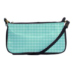 Solid White Hearts on Pale Tiffany Aqua Blue Shoulder Clutch Bags