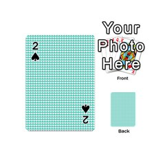 Solid White Hearts on Pale Tiffany Aqua Blue Playing Cards 54 (Mini)