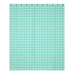 Solid White Hearts on Pale Tiffany Aqua Blue Shower Curtain 60  x 72  (Medium)