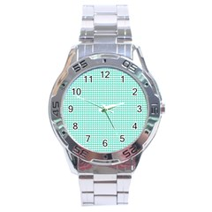 Solid White Hearts on Pale Tiffany Aqua Blue Stainless Steel Analogue Watch