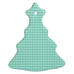 Solid White Hearts on Pale Tiffany Aqua Blue Ornament (Christmas Tree)