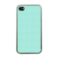 Solid White Hearts on Pale Tiffany Aqua Blue Apple iPhone 4 Case (Clear)