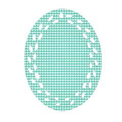 Solid White Hearts on Pale Tiffany Aqua Blue Ornament (Oval Filigree)