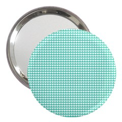 Solid White Hearts on Pale Tiffany Aqua Blue 3  Handbag Mirrors