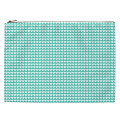 Solid White Hearts on Pale Tiffany Aqua Blue Cosmetic Bag (XXL)