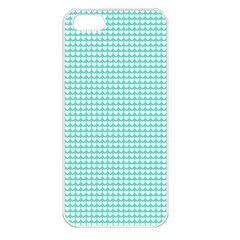 Solid White Hearts on Pale Tiffany Aqua Blue Apple iPhone 5 Seamless Case (White)