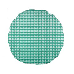 Solid White Hearts on Pale Tiffany Aqua Blue Standard 15  Premium Round Cushions