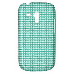 Solid White Hearts on Pale Tiffany Aqua Blue Galaxy S3 Mini