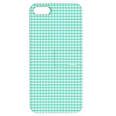 Solid White Hearts on Pale Tiffany Aqua Blue Apple iPhone 5 Hardshell Case with Stand