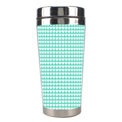 Solid White Hearts on Pale Tiffany Aqua Blue Stainless Steel Travel Tumblers