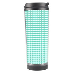 Solid White Hearts on Pale Tiffany Aqua Blue Travel Tumbler