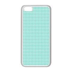 Solid White Hearts on Pale Tiffany Aqua Blue Apple iPhone 5C Seamless Case (White)