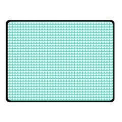 Solid White Hearts on Pale Tiffany Aqua Blue Double Sided Fleece Blanket (Small)