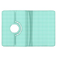 Solid White Hearts on Pale Tiffany Aqua Blue Kindle Fire HDX Flip 360 Case