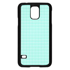 Solid White Hearts on Pale Tiffany Aqua Blue Samsung Galaxy S5 Case (Black)