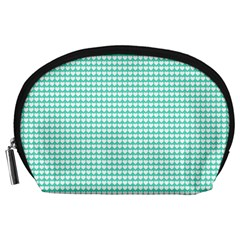 Solid White Hearts on Pale Tiffany Aqua Blue Accessory Pouches (Large)