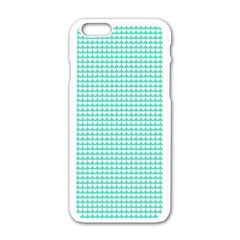 Solid White Hearts on Pale Tiffany Aqua Blue Apple iPhone 6/6S White Enamel Case