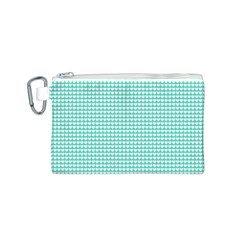 Solid White Hearts on Pale Tiffany Aqua Blue Canvas Cosmetic Bag (S)