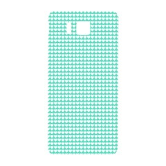 Solid White Hearts on Pale Tiffany Aqua Blue Samsung Galaxy Alpha Hardshell Back Case