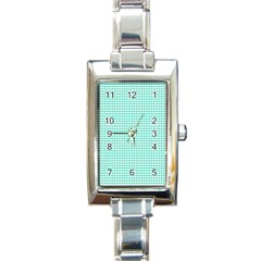 Tiffany Aqua Blue Candy Hearts on White Rectangle Italian Charm Watch