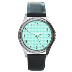 Tiffany Aqua Blue Candy Hearts on White Round Metal Watch