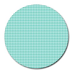 Tiffany Aqua Blue Candy Hearts on White Round Mousepads