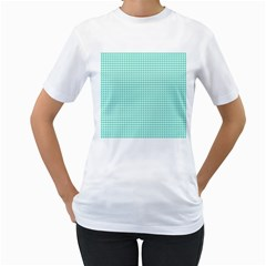 Tiffany Aqua Blue Candy Hearts on White Women s T-Shirt (White) (Two Sided)