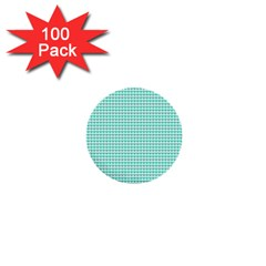 Tiffany Aqua Blue Candy Hearts on White 1  Mini Buttons (100 pack)
