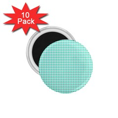 Tiffany Aqua Blue Candy Hearts on White 1.75  Magnets (10 pack)
