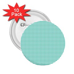 Tiffany Aqua Blue Candy Hearts on White 2.25  Buttons (10 pack)