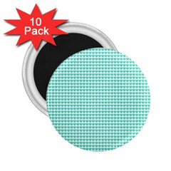 Tiffany Aqua Blue Candy Hearts on White 2.25  Magnets (10 pack)