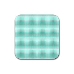 Tiffany Aqua Blue Candy Hearts on White Rubber Square Coaster (4 pack)