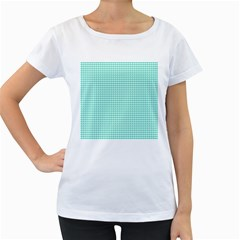 Tiffany Aqua Blue Candy Hearts on White Women s Loose-Fit T-Shirt (White)