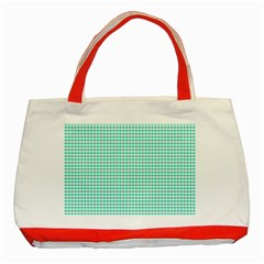Tiffany Aqua Blue Candy Hearts on White Classic Tote Bag (Red)