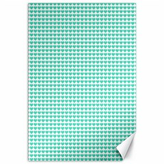 Tiffany Aqua Blue Candy Hearts on White Canvas 12  x 18