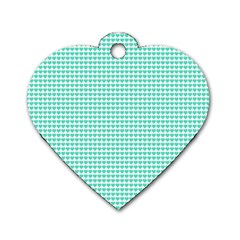 Tiffany Aqua Blue Candy Hearts on White Dog Tag Heart (Two Sides)