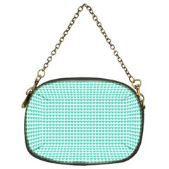 Tiffany Aqua Blue Candy Hearts on White Chain Purses (Two Sides)