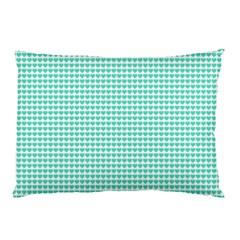 Tiffany Aqua Blue Candy Hearts on White Pillow Case