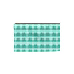 Tiffany Aqua Blue Candy Hearts on White Cosmetic Bag (Small)