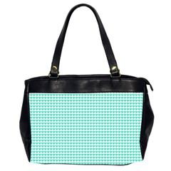 Tiffany Aqua Blue Candy Hearts on White Office Handbags (2 Sides)