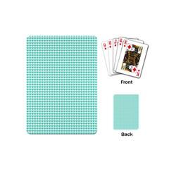 Tiffany Aqua Blue Candy Hearts on White Playing Cards (Mini)