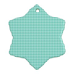 Tiffany Aqua Blue Candy Hearts on White Ornament (Snowflake)