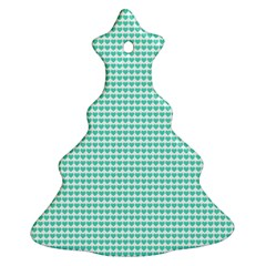 Tiffany Aqua Blue Candy Hearts on White Christmas Tree Ornament (Two Sides)