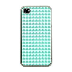Tiffany Aqua Blue Candy Hearts on White Apple iPhone 4 Case (Clear)