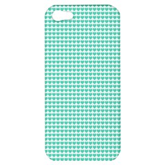 Tiffany Aqua Blue Candy Hearts on White Apple iPhone 5 Hardshell Case