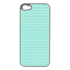 Tiffany Aqua Blue Candy Hearts on White Apple iPhone 5 Case (Silver)
