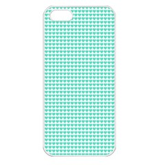 Tiffany Aqua Blue Candy Hearts on White Apple iPhone 5 Seamless Case (White)