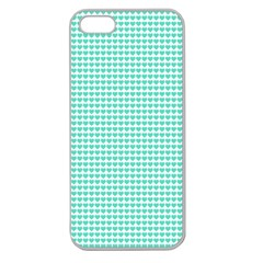 Tiffany Aqua Blue Candy Hearts on White Apple Seamless iPhone 5 Case (Clear)