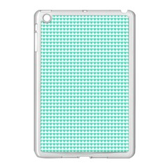 Tiffany Aqua Blue Candy Hearts on White Apple iPad Mini Case (White)